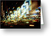 Cyrillic Greeting Cards - Multiple-exposure Photograph Of Moscow City Lights Greeting Card by Ria Novosti