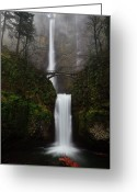 Waterfall Greeting Cards - Multnomah Fall Greeting Card by Helminadia
