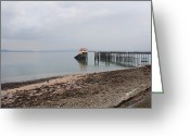 Pebbles Greeting Cards - Mumbles Pier Greeting Card by Julie L Hoddinott