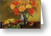 Silver Pitcher Greeting Cards - Mums and Fruit Greeting Card by Aurelia Nieves-Callwood