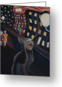 Reproductions Greeting Cards - Munchs Cat--The Scream Greeting Card by Eve Riser Roberts