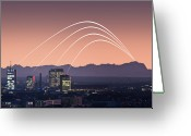 Munich Greeting Cards - Munich Skyline With Alps Mountain Range Greeting Card by daitoZen