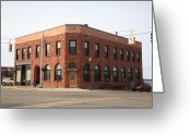 Street Greeting Cards - Munising Michigan City Hall Greeting Card by Frank Romeo