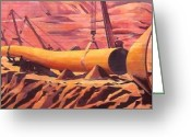 At Work Drawings Greeting Cards - Mural 12x90 feet detail Pipeline Greeting Card by Tim  Heimdal