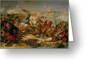 Battleground Greeting Cards - Murat Defeating the Turkish Army at Aboukir on 25 July 1799 Greeting Card by Baron Antoine Jean Gros