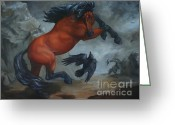Wild Horse Painting Greeting Cards - Murder of Crows Greeting Card by Lisa Phillips Owens