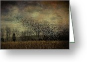 Cornfield Greeting Cards - Murmuration Greeting Card by Sharon OBrien-Huey