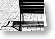 Black And White Abstract Greeting Cards - Muscial Bench Greeting Card by Rebecca Cozart