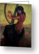 Slavic Painting Greeting Cards - Muse Playing the Harp Greeting Card by Antoine Auguste Ernest Hebert