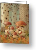 Mushrooms Greeting Cards - Mushrooms Greeting Card by Kestutis Kasparavicius