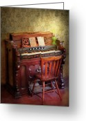 Church Greeting Cards - Music - Organist - Playing the songs of the gospel  Greeting Card by Mike Savad