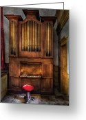 Player Photo Greeting Cards - Music - Organist - What a big organ you have  Greeting Card by Mike Savad