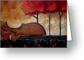 Instruments Mixed Media Greeting Cards - Music and Nature in Harmony Greeting Card by Vickie Warner