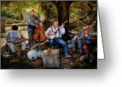 Autumn Scenes Greeting Cards - Music Band - The bands back together again  Greeting Card by Mike Savad