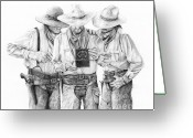 Cowboy Sketches Greeting Cards - Music Box Greeting Card by Jack Schilder