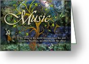 Tree Greeting Cards - Music Greeting Card by Evie Cook
