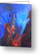 Sax Greeting Cards - Music for Saxy Greeting Card by Gail Salituri