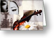 Abstract Art Pyrography Greeting Cards - Music for the Soul Greeting Card by Irena Orlov