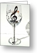 Music Glass Art Greeting Cards - Music Glass Greeting Card by Pauline Ross