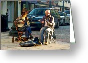 Street Musicians Greeting Cards - Music in the Air Greeting Card by Suzanne Gaff