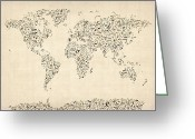 World Greeting Cards - Music Notes Map of the World Map Greeting Card by Michael Tompsett