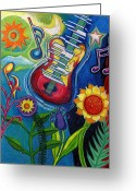 Drawing Greeting Cards Greeting Cards - Music On Flowers Greeting Card by Genevieve Esson