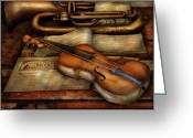 Horn Greeting Cards - Music - Violin - Played its last song  Greeting Card by Mike Savad