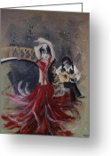 Red Woman Greeting Cards - Musica Espaniol Greeting Card by Kelly Jade King