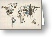 Musical Art Greeting Cards - Musical Instruments Map of the World Map Greeting Card by Michael Tompsett