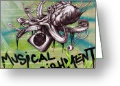 Air Mixed Media Greeting Cards - Musical Nourishment Greeting Card by Iosua Tai Taeoalii