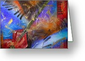 Guitar Mixed Media Greeting Cards - Musical Textures Series Greeting Card by Andrea Tharin