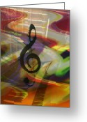 Musical Art Greeting Cards - Musical Waves Greeting Card by Linda Sannuti