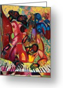 Black Art Greeting Cards - MusicFest Greeting Card by Larry Poncho Brown
