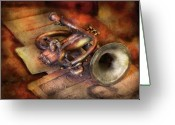 Horn Greeting Cards - Musician - Horn - Toot my horn Greeting Card by Mike Savad