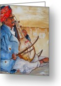 Instruments Drawings Greeting Cards - Musician of India Greeting Card by Myra Evans