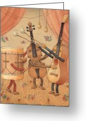 Instruments Drawings Greeting Cards - Musicians Greeting Card by Kestutis Kasparavicius