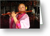 Headgear Greeting Cards - Musicians Perform On Traditional Greeting Card by Richard Nowitz