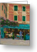 Italian Med Artist Greeting Cards - Musicians Stroll In Portofino Greeting Card by Charlotte Blanchard