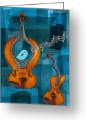 Violin Digital Art Greeting Cards - Musiko Greeting Card by Aimelle