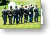 Muskets Greeting Cards - Musket Firing Greeting Card by Patricia Januszkiewicz
