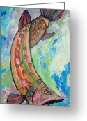 Anglers Greeting Cards - Muskie Greeting Card by Krista Ouellette