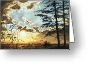 Artist Studio Greeting Cards - Muskoka Dawn Greeting Card by Hanne Lore Koehler