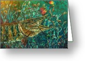 Fish Tapestries - Textiles Greeting Cards - MUSKY- Chasin Greeting Card by Sue Duda