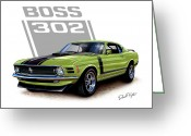 David Kyte Greeting Cards - Mustang Boss 302 Grabber Green Greeting Card by David Kyte
