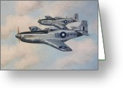 Fighters Painting Greeting Cards - Mustang Duo Greeting Card by Murray McLeod