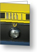 Sports Car Photo Greeting Cards - Mustang Mach 1 Emblem 2 Greeting Card by Jill Reger