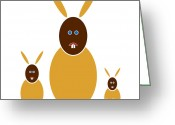 Yellow Drawings Greeting Cards - Mustard Bunnies Greeting Card by Frank Tschakert