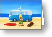 Campervan Greeting Cards - Mustee And Rufus Greeting Card by Nadine Gould