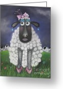 Whimsical Pastels Greeting Cards - Mutton Dressed As Lamb Greeting Card by Caroline Peacock