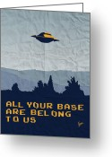 Tv Show Greeting Cards - My All your base are belong to us meets x-files I want to believe poster  Greeting Card by Chungkong Art